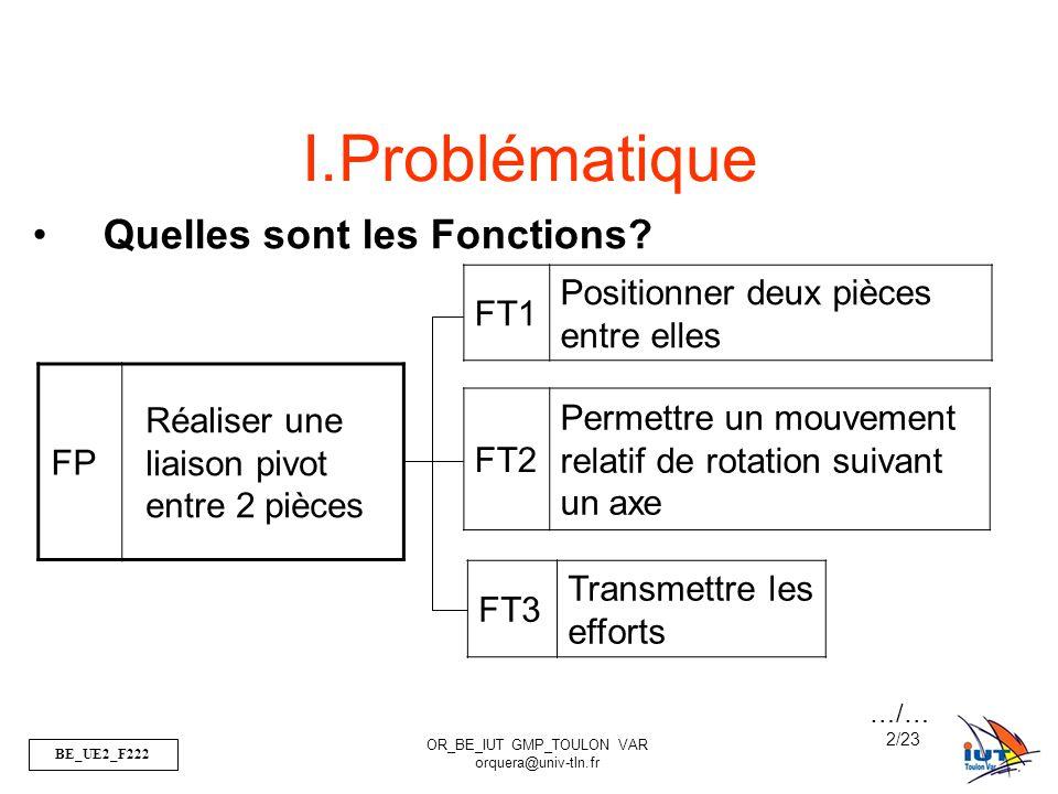 BE_UE2_F222 OR_BE_IUT GMP_TOULON VAR orquera@univ-tln.fr 2/23 FP Réaliser une liaison pivot entre 2 pièces FT1 Positionner deux pièces entre elles FT2 Permettre un mouvement relatif de rotation suivant un axe FT3 Transmettre les efforts I.Problématique Quelles sont les Fonctions.