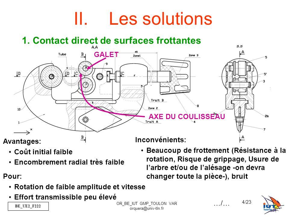 BE_UE2_F222 OR_BE_IUT GMP_TOULON VAR orquera@univ-tln.fr 4/23 II.Les solutions GALET AXE DU COULISSEAU 1.Contact direct de surfaces frottantes Avantages: Coût initial faible Encombrement radial très faible Inconvénients: Beaucoup de frottement (Résistance à la rotation, Risque de grippage, Usure de l'arbre et/ou de l'alésage -on devra changer toute la pièce-), bruit Pour: Rotation de faible amplitude et vitesse Effort transmissible peu élevé …/…