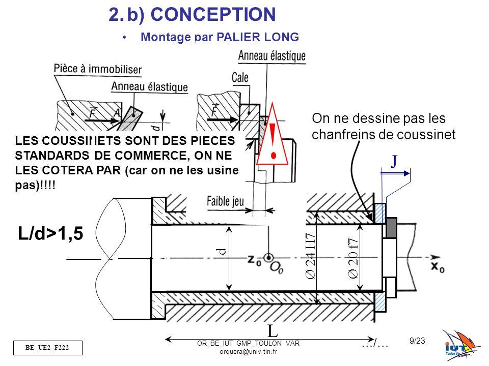 BE_UE2_F222 OR_BE_IUT GMP_TOULON VAR orquera@univ-tln.fr 9/23 2.b) CONCEPTION Ø 24 H7 Ø 20 f7 J L d Montage par PALIER LONG L/d>1,5 On ne dessine pas
