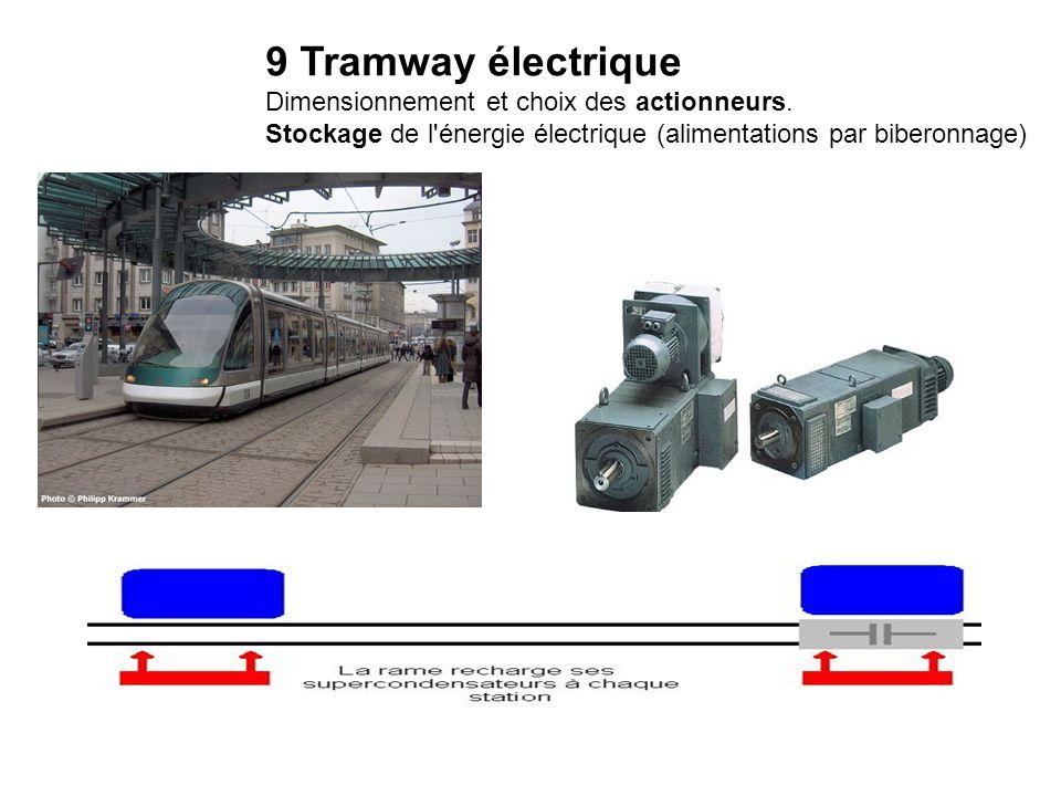 9 Tramway électrique Dimensionnement et choix des actionneurs. Stockage de l'énergie électrique (alimentations par biberonnage)