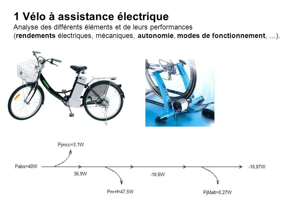 1 Vélo à assistance électrique Analyse des différents éléments et de leurs performances (rendements électriques, mécaniques, autonomie, modes de fonctionnement, …).