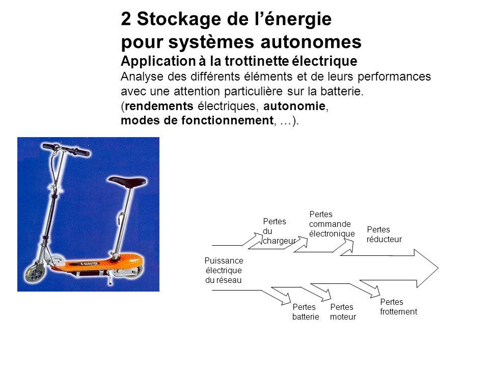 2 Stockage de l'énergie pour systèmes autonomes Application à la trottinette électrique Analyse des différents éléments et de leurs performances avec une attention particulière sur la batterie.