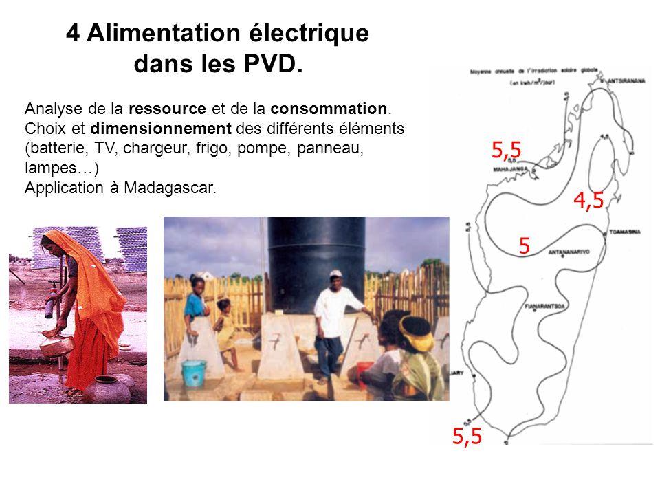 4 Alimentation électrique dans les PVD. Analyse de la ressource et de la consommation. Choix et dimensionnement des différents éléments (batterie, TV,
