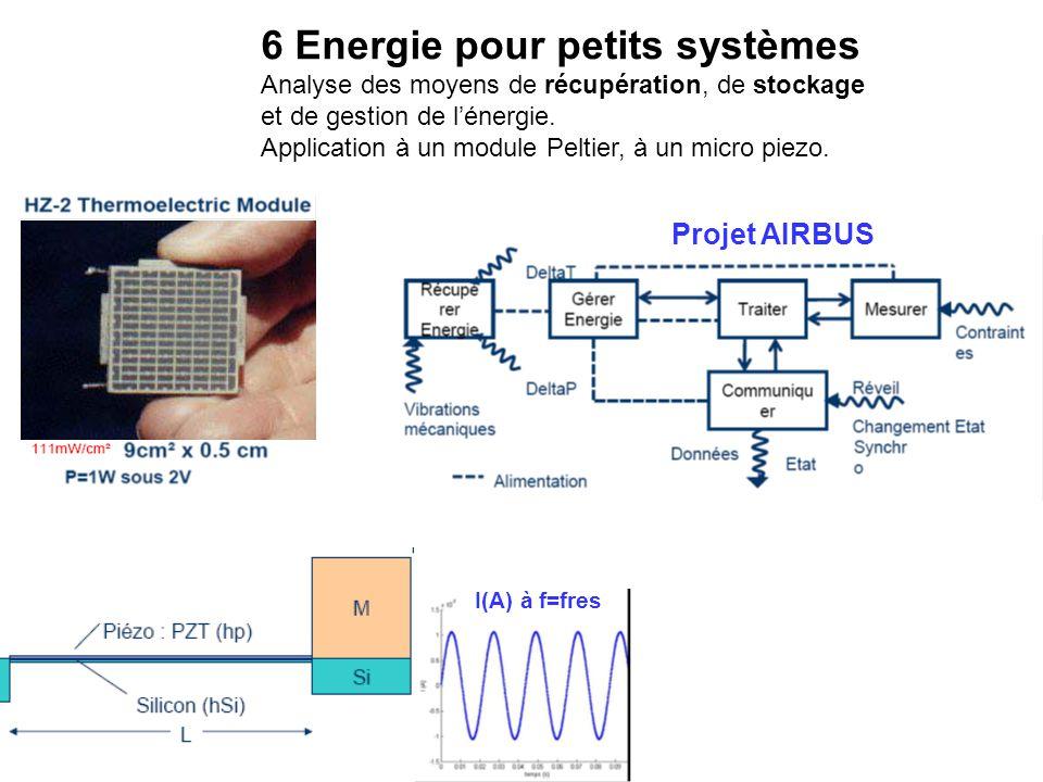 6 Energie pour petits systèmes Analyse des moyens de récupération, de stockage et de gestion de l'énergie. Application à un module Peltier, à un micro