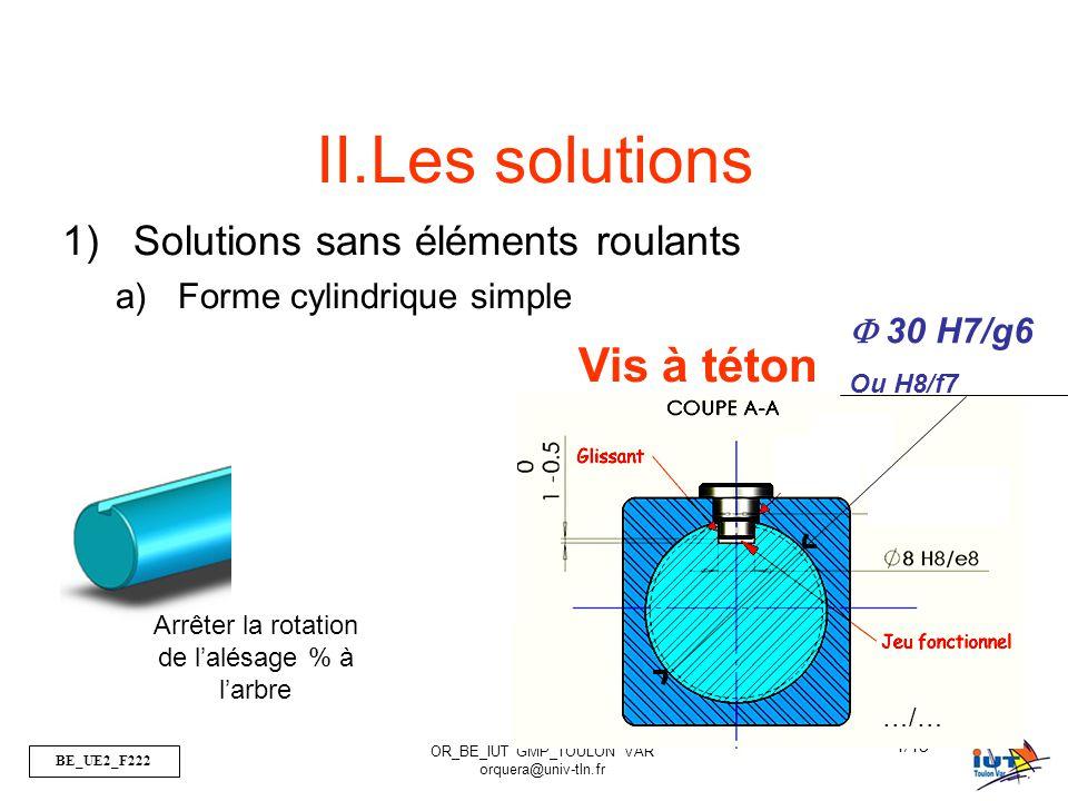 BE_UE2_F222 OR_BE_IUT GMP_TOULON VAR orquera@univ-tln.fr 5/43 Clavette  30 H7/g6 Ou H8/f7 …/…