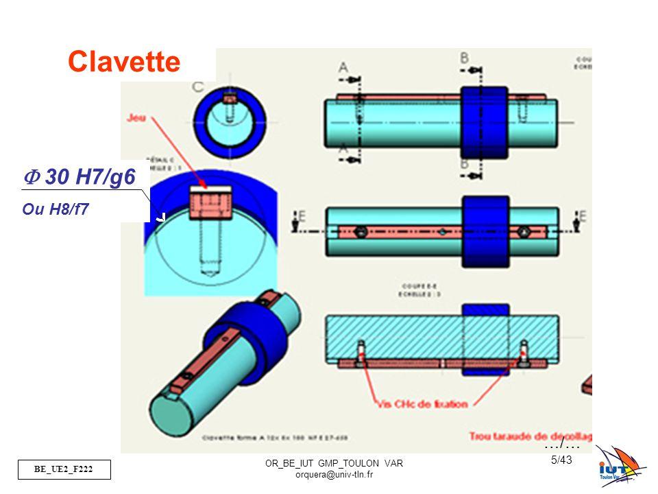BE_UE2_F222 OR_BE_IUT GMP_TOULON VAR orquera@univ-tln.fr 36/43 Modélisation des surfaces nominales Pressions de contact Pc=Force/Surface => +S diminue, +Pc augmente Pour un même diamètre un contact bille sur plan aura une Pc supérieure à un contact cylindre sur plan Pc<Padm par le matériau sinon écrouissage, ou écaillage… Type de contactModélisation …/… Sphère Cylindre Vue de Dessus