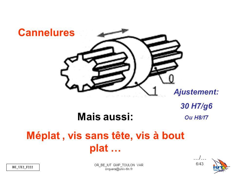 BE_UE2_F222 OR_BE_IUT GMP_TOULON VAR orquera@univ-tln.fr 17/43 Conception L d jeu J J 30 H7-g6 40 H7-g6 J J …/… 10 H7-g6
