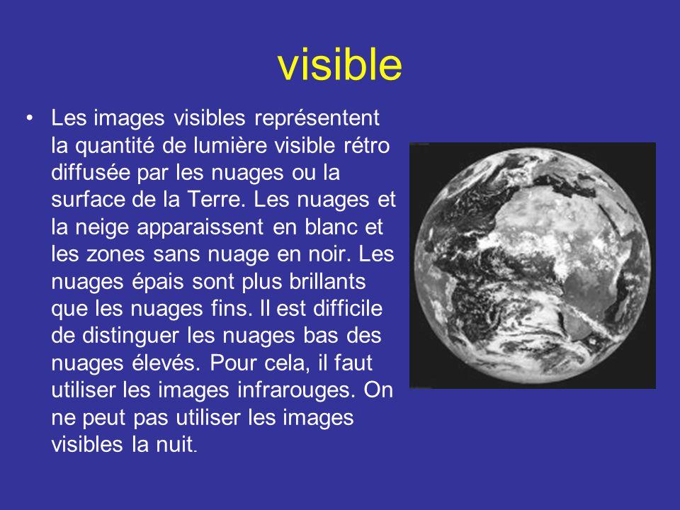 visible Les images visibles représentent la quantité de lumière visible rétro diffusée par les nuages ou la surface de la Terre. Les nuages et la neig