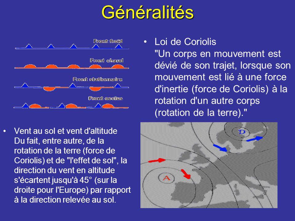 Généralités Loi de Coriolis Un corps en mouvement est dévié de son trajet, lorsque son mouvement est lié à une force d inertie (force de Coriolis) à la rotation d un autre corps (rotation de la terre). Vent au sol et vent d altitude Du fait, entre autre, de la rotation de la terre (force de Coriolis) et de l effet de sol , la direction du vent en altitude s écartent jusqu à 45° (sur la droite pour l Europe) par rapport à la direction relevée au sol.