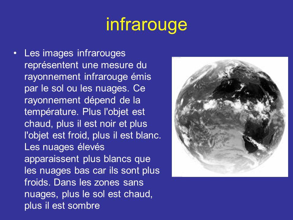infrarouge Les images infrarouges représentent une mesure du rayonnement infrarouge émis par le sol ou les nuages. Ce rayonnement dépend de la tempéra