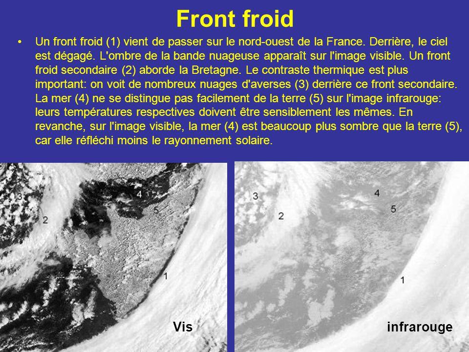 Front froid Un front froid (1) vient de passer sur le nord-ouest de la France. Derrière, le ciel est dégagé. L'ombre de la bande nuageuse apparaît sur