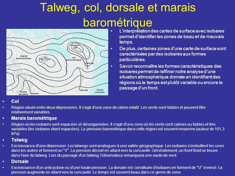 Talweg, col, dorsale et marais barométrique L'interprétation des cartes de surface avec isobares permet d'identifier les zones de beau et de mauvais t