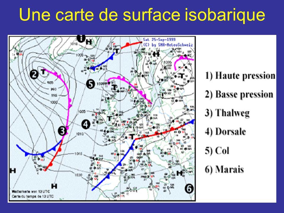 Une carte de surface isobarique