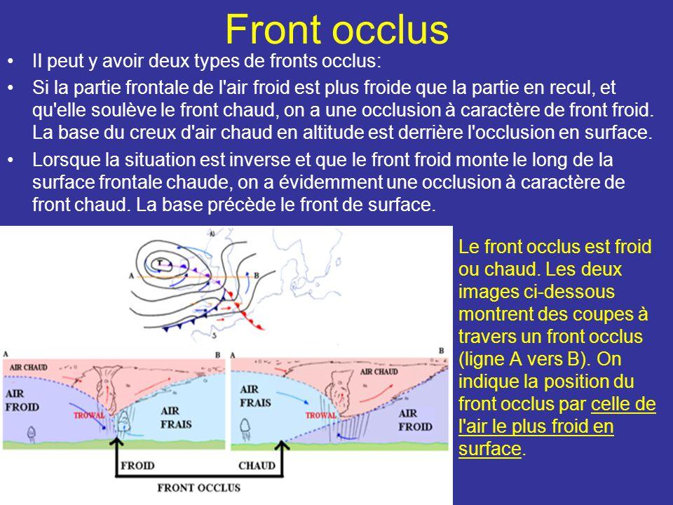 Front occlus Il peut y avoir deux types de fronts occlus: Si la partie frontale de l air froid est plus froide que la partie en recul, et qu elle soulève le front chaud, on a une occlusion à caractère de front froid.