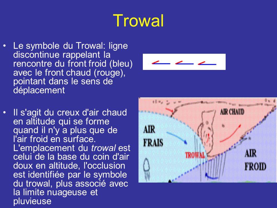 Trowal Le symbole du Trowal: ligne discontinue rappelant la rencontre du front froid (bleu) avec le front chaud (rouge), pointant dans le sens de déplacement Il s agit du creux d air chaud en altitude qui se forme quand il n y a plus que de l air froid en surface.
