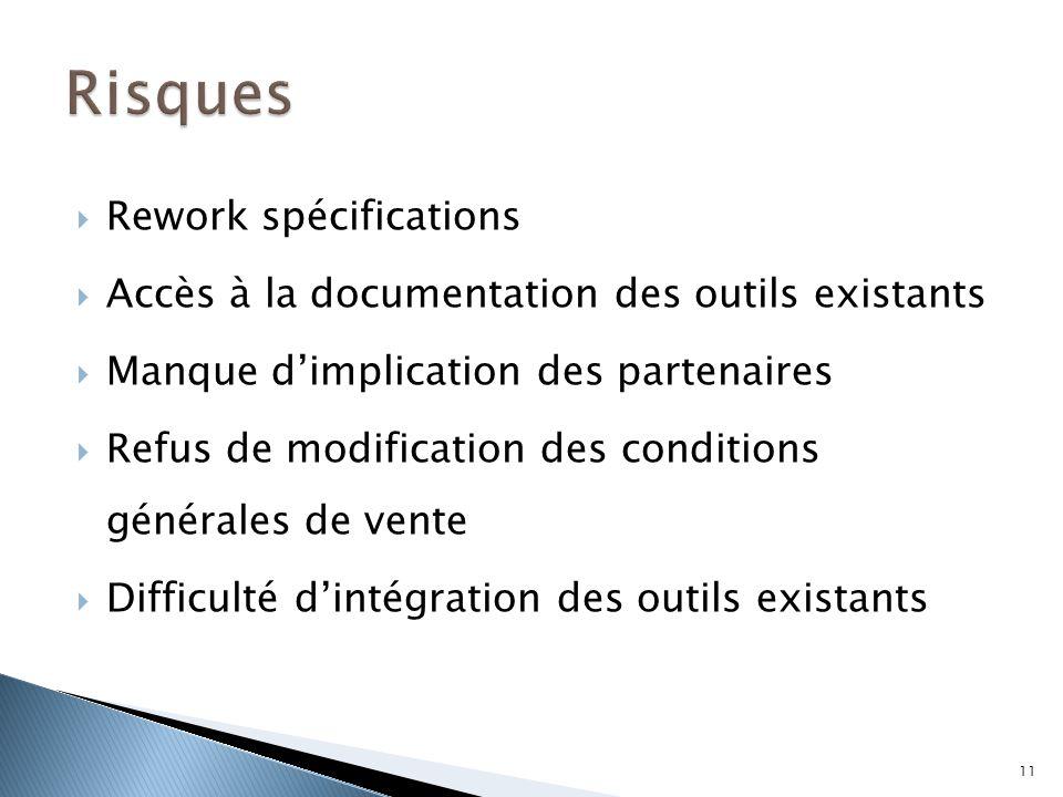  Rework spécifications  Accès à la documentation des outils existants  Manque d'implication des partenaires  Refus de modification des conditions
