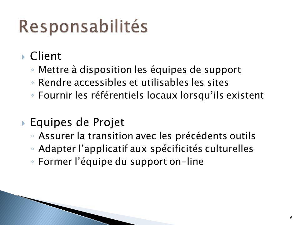  Client ◦ Mettre à disposition les équipes de support ◦ Rendre accessibles et utilisables les sites ◦ Fournir les référentiels locaux lorsqu'ils exis