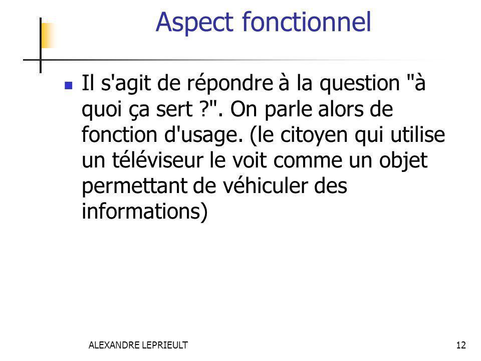 ALEXANDRE LEPRIEULT 12 Aspect fonctionnel Il s'agit de répondre à la question