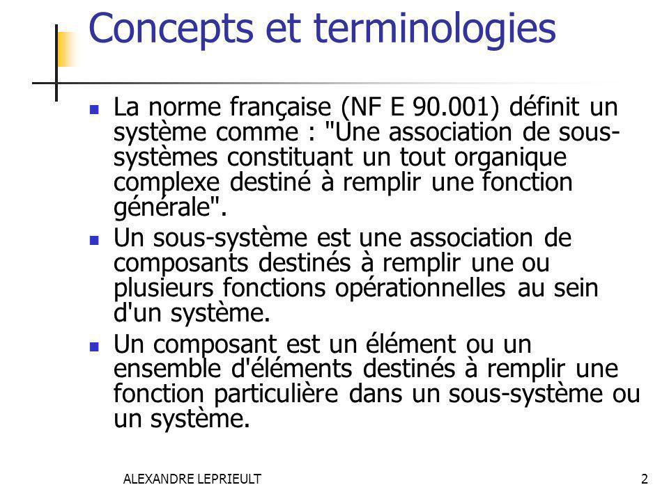 ALEXANDRE LEPRIEULT 2 Concepts et terminologies La norme française (NF E 90.001) définit un système comme :