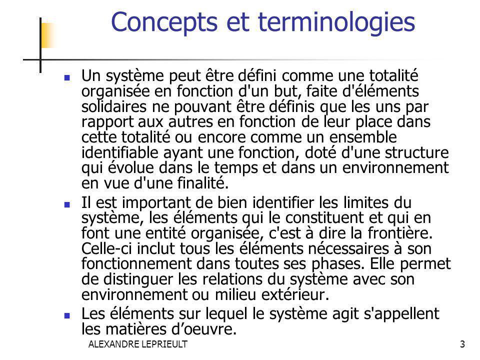 ALEXANDRE LEPRIEULT 3 Concepts et terminologies Un système peut être défini comme une totalité organisée en fonction d'un but, faite d'éléments solida