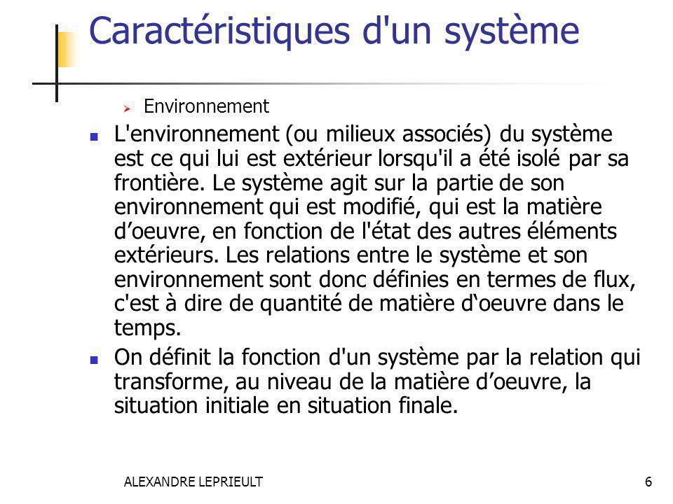 ALEXANDRE LEPRIEULT 6 Caractéristiques d'un système  Environnement L'environnement (ou milieux associés) du système est ce qui lui est extérieur lors