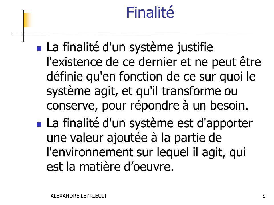 ALEXANDRE LEPRIEULT 8 Finalité La finalité d'un système justifie l'existence de ce dernier et ne peut être définie qu'en fonction de ce sur quoi le sy
