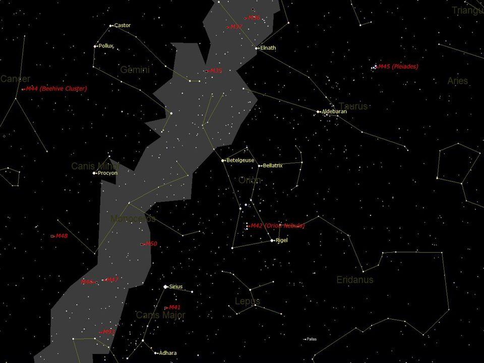 17 Orion en chiffres Plus de 200 étoiles visibles à l oeil nu 7 étoiles variables 49 étoiles doubles 23 nébuleuses d émission dont M42, M78, IC 434 3 nébuleuses de réflexion dont NGC 2064 et NGC 2068 4 nébuleuses obscures dont B33 et B35 2 nébuleuses planétaires, NGC 2022 et PK190-17.1 1 résidu multiple de supernovae, la Boucle de Barnard 20 amas ouverts dont NGC 1981 et NGC 2301 30 galaxies pâles de magnitude >12 2 essaims de météores, les Orionides et Chi Orionides