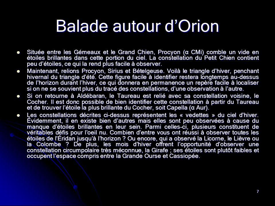 7 Balade autour d'Orion Située entre les Gémeaux et le Grand Chien, Procyon (α CMi) comble un vide en étoiles brillantes dans cette portion du ciel. L