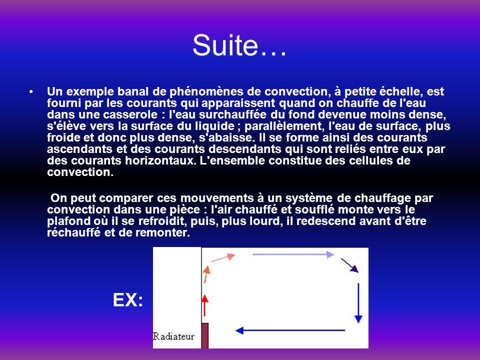 Suite… Un exemple banal de phénomènes de convection, à petite échelle, est fourni par les courants qui apparaissent quand on chauffe de l'eau dans une