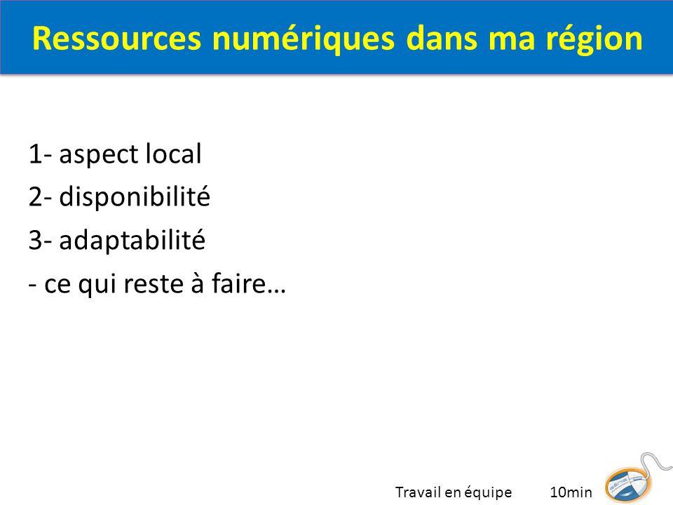 1- aspect local 2- disponibilité 3- adaptabilité - ce qui reste à faire… Travail en équipe 10min Ressources numériques dans ma région