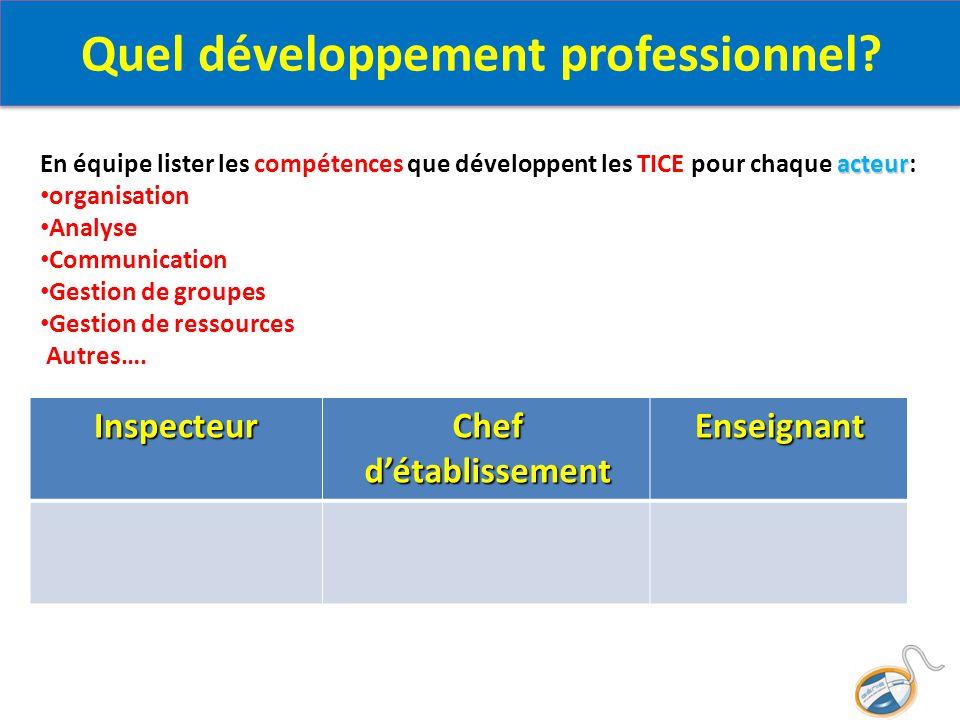 Enseignant Chef d'établissement Inspecteur acteur En équipe lister les compétences que développent les TICE pour chaque acteur: organisation Analyse C