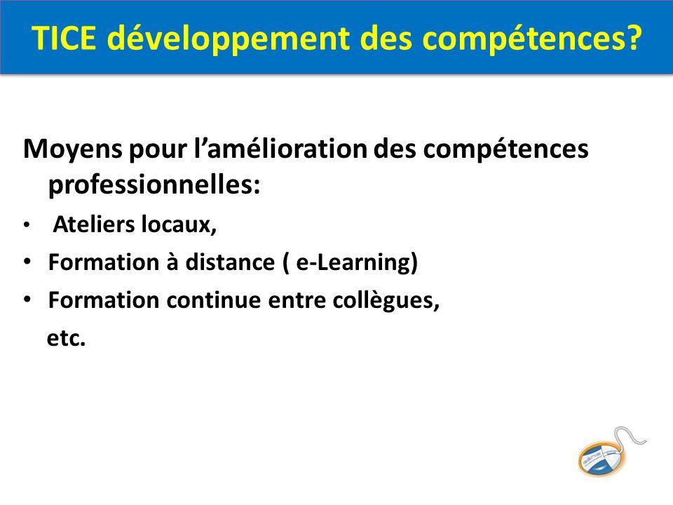 Moyens pour l'amélioration des compétences professionnelles: Ateliers locaux, Formation à distance ( e-Learning) Formation continue entre collègues, etc.