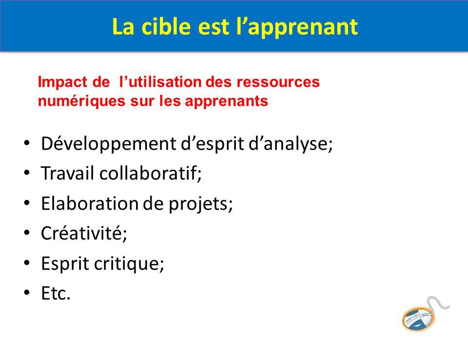 Développement d'esprit d'analyse; Travail collaboratif; Elaboration de projets; Créativité; Esprit critique; Etc. La cible est l'apprenant Impact de l