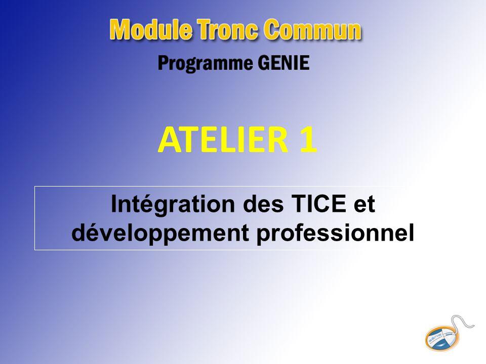ATELIER 1 Intégration des TICE et développement professionnel