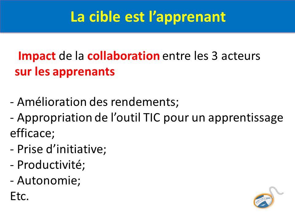 - Amélioration des rendements; - Appropriation de l'outil TIC pour un apprentissage efficace; - Prise d'initiative; - Productivité; - Autonomie; Etc.
