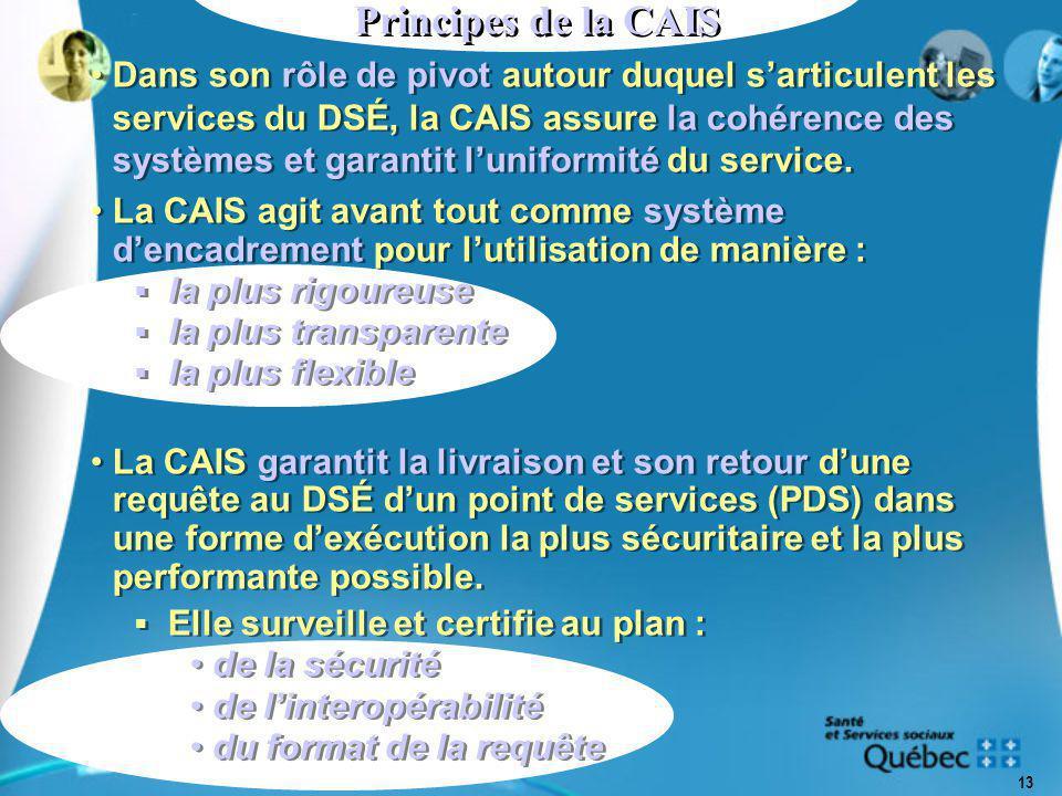 13 Principes de la CAIS Dans son rôle de pivot autour duquel s'articulent les services du DSÉ, la CAIS assure la cohérence des systèmes et garantit l'uniformité du service.
