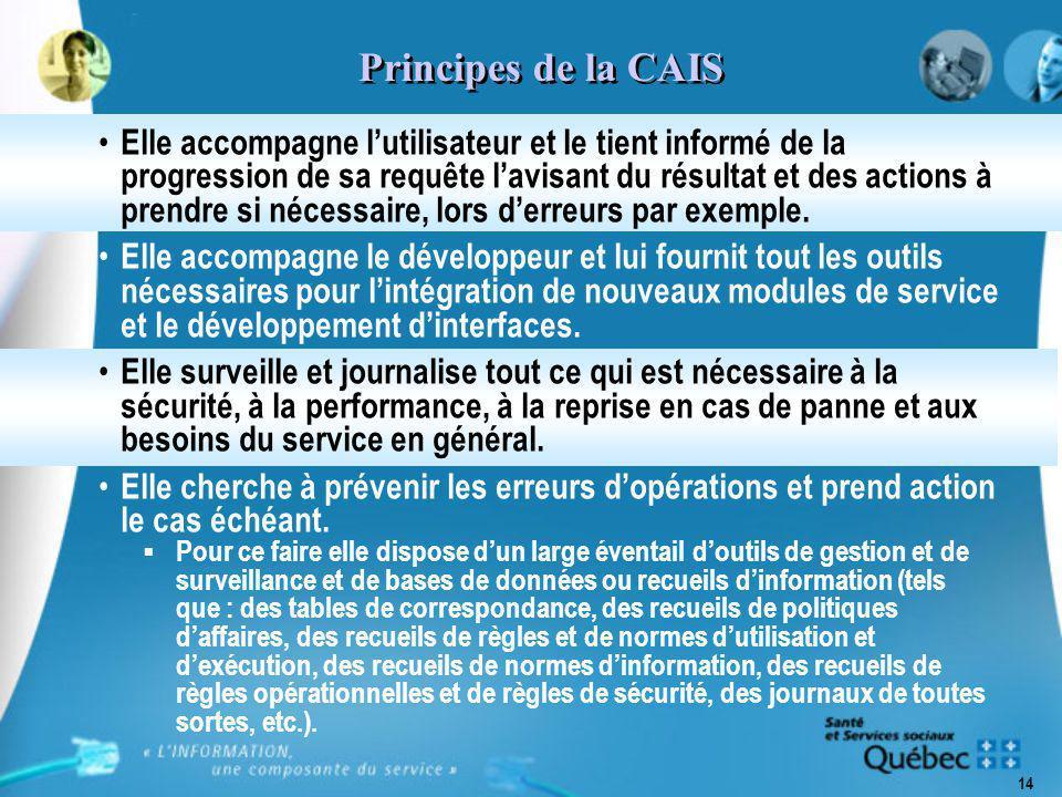14 Principes de la CAIS Elle accompagne l'utilisateur et le tient informé de la progression de sa requête l'avisant du résultat et des actions à prendre si nécessaire, lors d'erreurs par exemple.