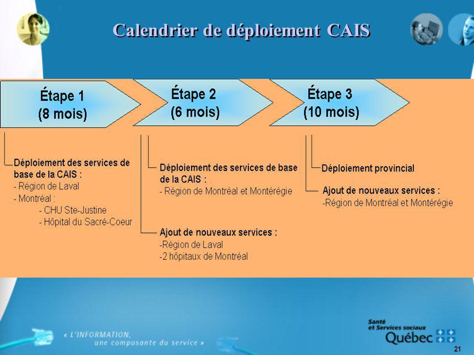 21 Calendrier de déploiement CAIS