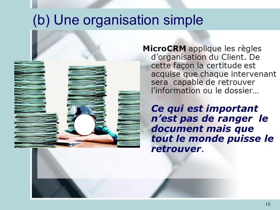 19 MicroCRM applique les règles d'organisation du Client.
