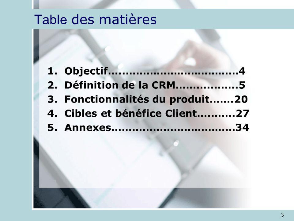 3 Table des matières 1.Objectif…..……………………………4 2.Définition de la CRM………..…….5 3.Fonctionnalités du produit…….20 4.Cibles et bénéfice Client….…….27 5.Annexes………………………………34