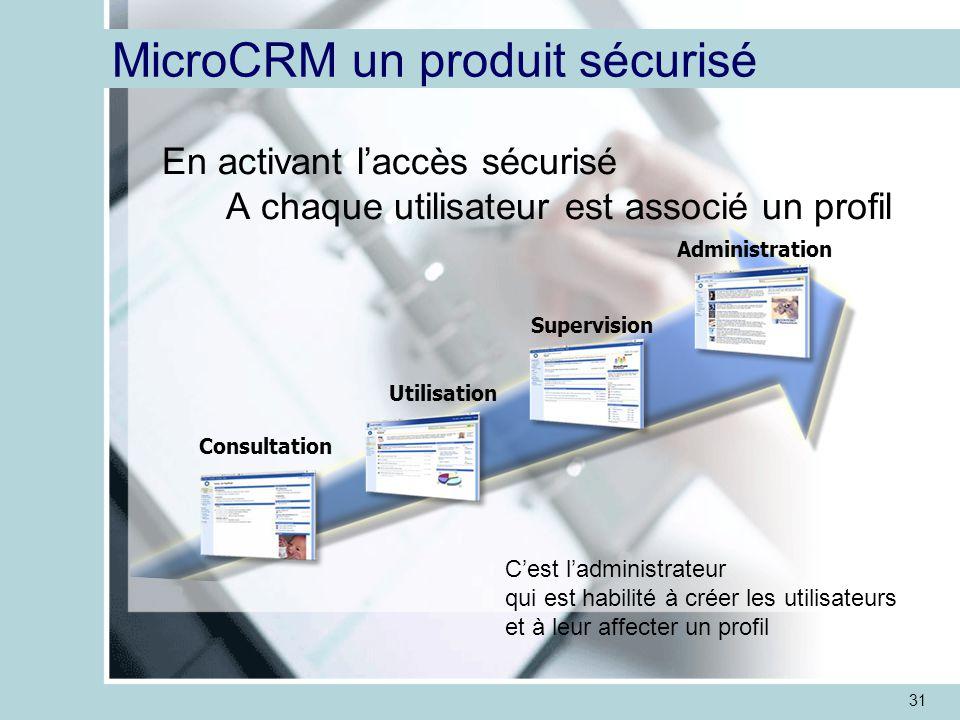 31 MicroCRM un produit sécurisé En activant l'accès sécurisé A chaque utilisateur est associé un profil C'est l'administrateur qui est habilité à créer les utilisateurs et à leur affecter un profil Utilisation Supervision Administration Consultation