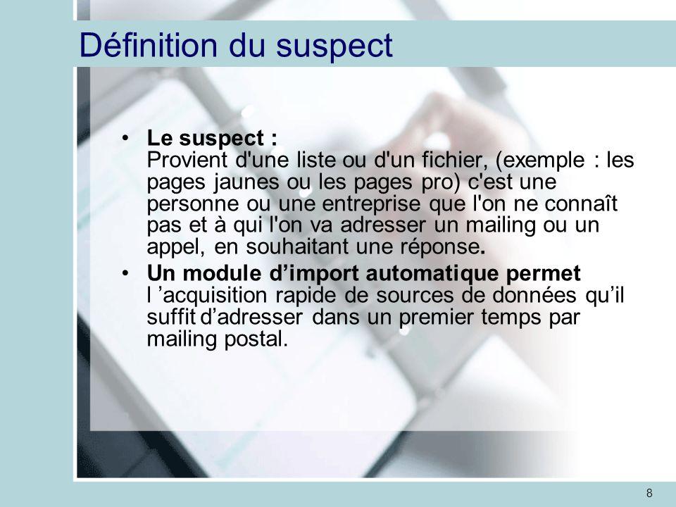 8 Définition du suspect Le suspect : Provient d une liste ou d un fichier, (exemple : les pages jaunes ou les pages pro) c est une personne ou une entreprise que l on ne connaît pas et à qui l on va adresser un mailing ou un appel, en souhaitant une réponse.