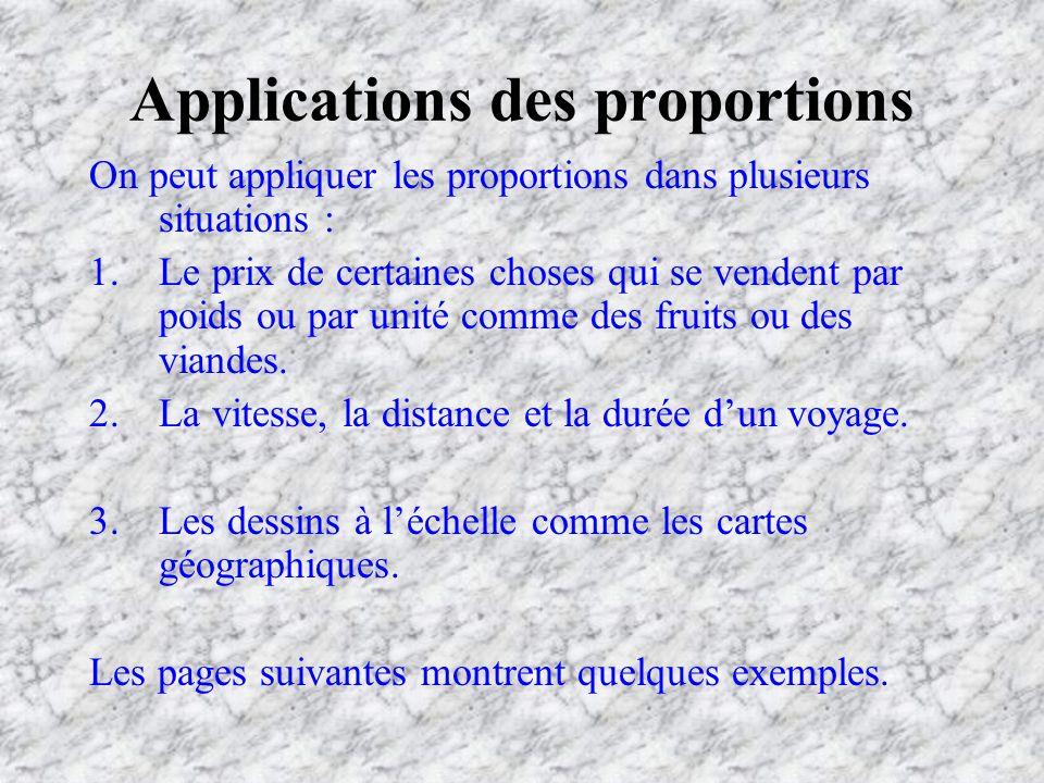 Applications des proportions On peut appliquer les proportions dans plusieurs situations : 1.Le prix de certaines choses qui se vendent par poids ou par unité comme des fruits ou des viandes.