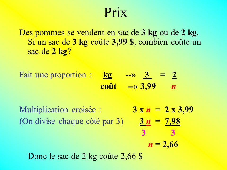 Prix Des pommes se vendent en sac de 3 kg ou de 2 kg.