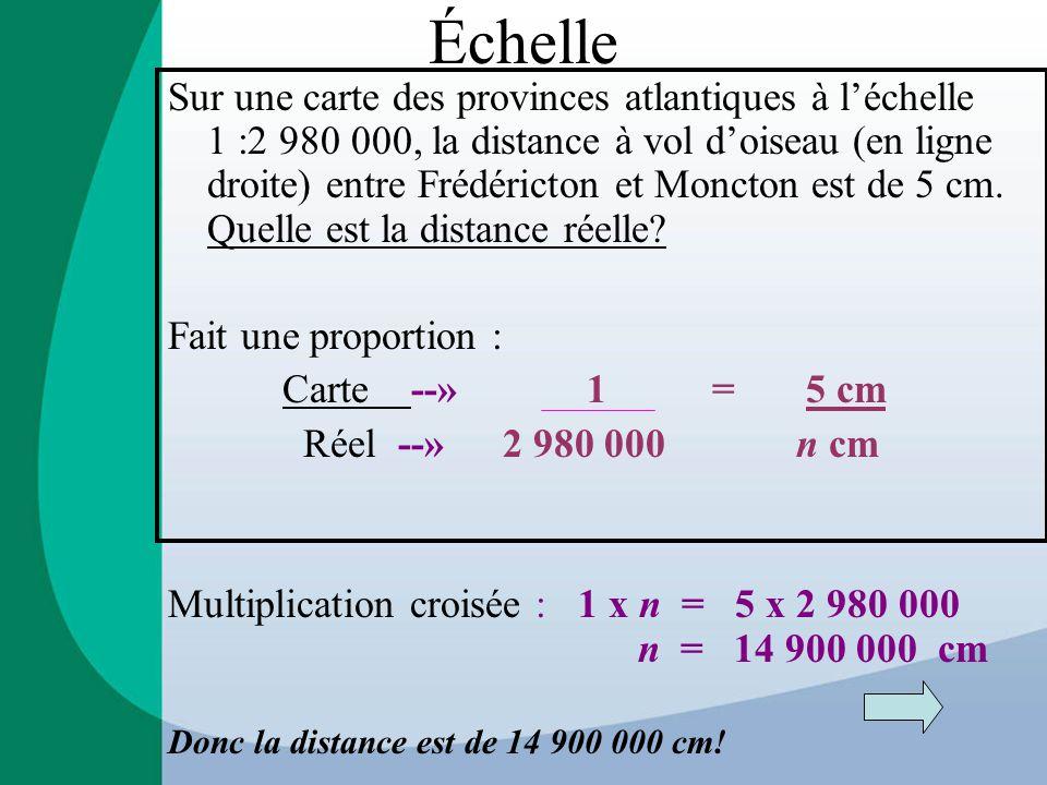 Échelle Sur une carte des provinces atlantiques à l'échelle 1 :2 980 000, la distance à vol d'oiseau (en ligne droite) entre Frédéricton et Moncton est de 5 cm.