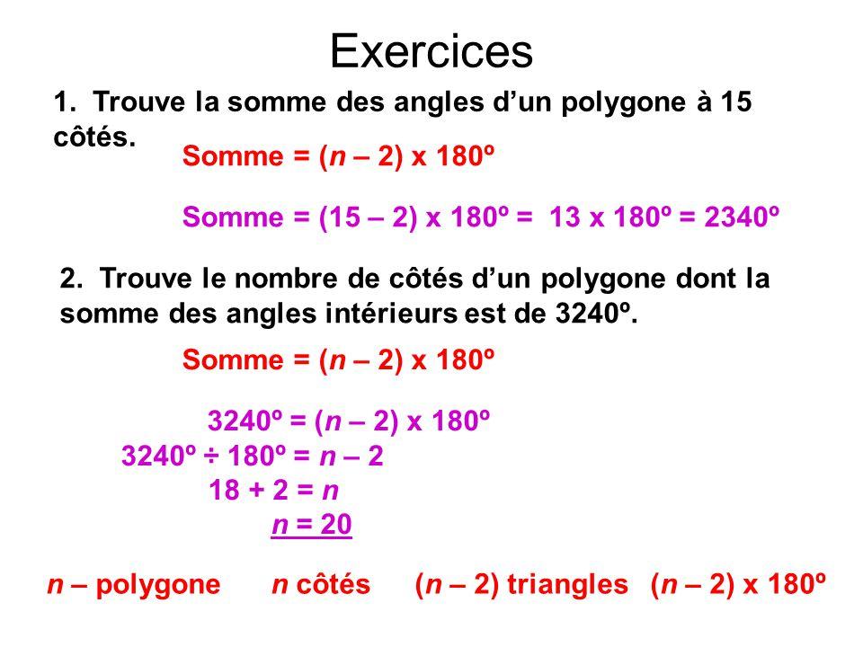 Exercices n – polygone n côtés (n – 2) triangles(n – 2) x 180º 1. Trouve la somme des angles d'un polygone à 15 côtés. Somme = (15 – 2) x 180º = 13 x