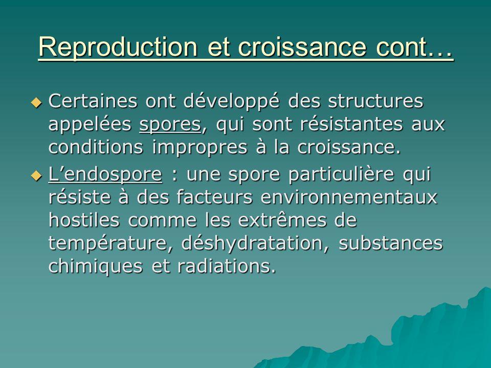 Reproduction et croissance cont…  Certaines ont développé des structures appelées spores, qui sont résistantes aux conditions impropres à la croissan