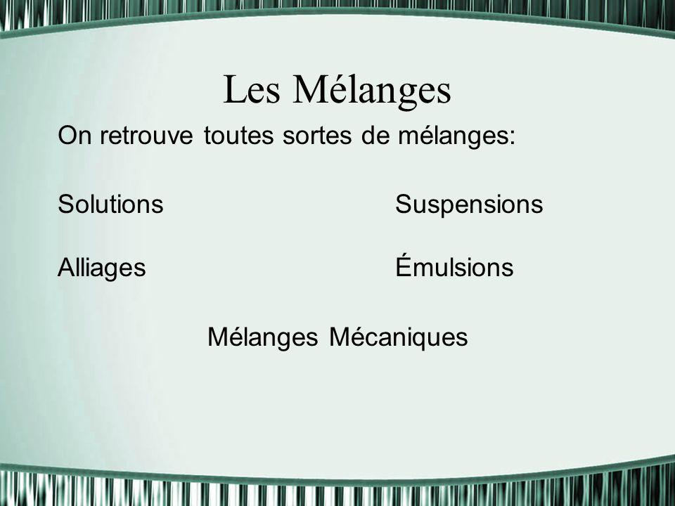 Les Mélanges On retrouve toutes sortes de mélanges: SolutionsSuspensions Alliages Émulsions Mélanges Mécaniques