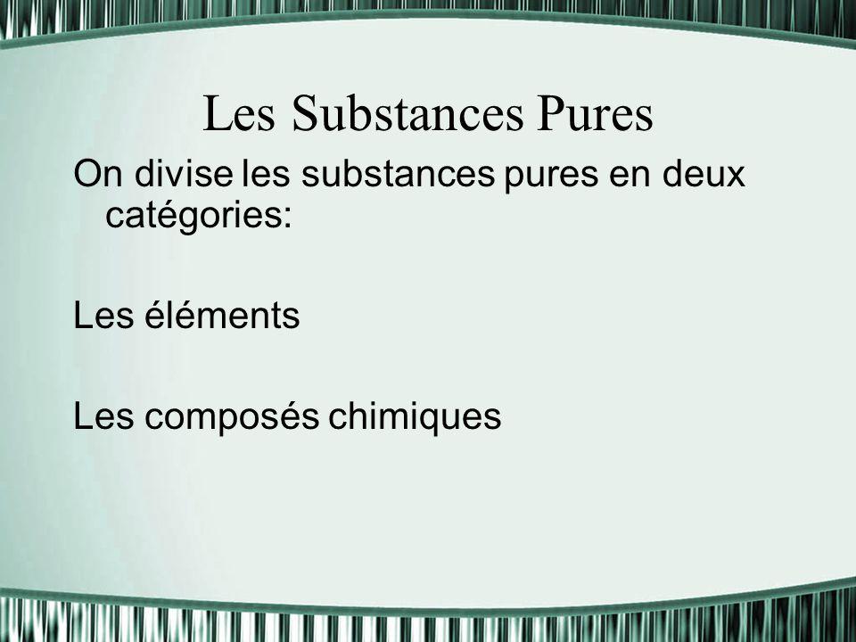 Les Substances Pures On divise les substances pures en deux catégories: Les éléments Les composés chimiques