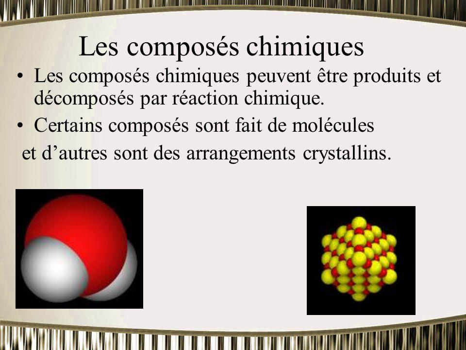 Les composés chimiques Les composés chimiques peuvent être produits et décomposés par réaction chimique. Certains composés sont fait de molécules et d